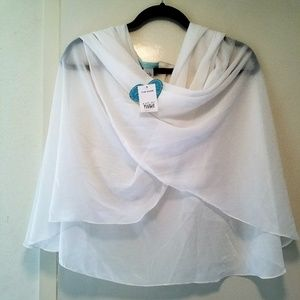 Blue by Betsey Johnson Sheer Ivory Wrap Shawl New